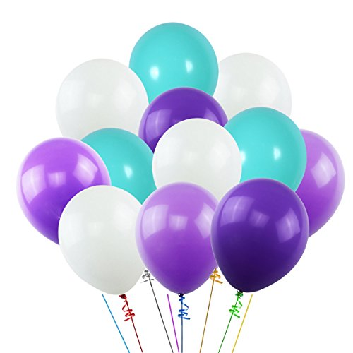 (K KUMEED White Purple Dark Purple Sea Foam Blue Assorted Balloons 12