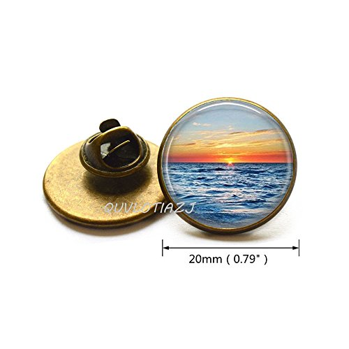 - QUVLOTIAZJ Beach Jewelry Sunset Brooch Nautical Ocean Sunset Art Pin,glass dome Pin,photo Pin,glass dome Brooch,ot117 (A3)