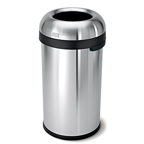simplehuman Bullet Open Top Trash Can, Commercial Grade, Heavy Gauge Stainless Steel, 60 L / 16 Gal by simplehuman