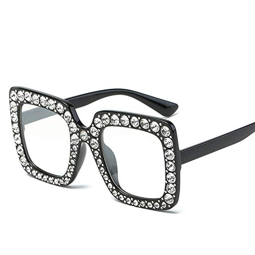 Large Jeweled Sunglasses for Women Crystal Bling Studded Oversized Square Frame (Clear Lenses, 70)