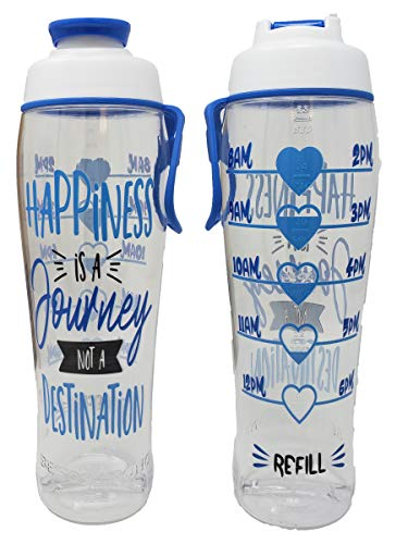 BPA Free Reusable Water Bottle with Time Marker – Motivational Fitness Bottles – Hours Marked – Drink More Water Daily – Tracker Helps You Drink Water All Day -Made in USA (Happiness Journey, 30 oz.)