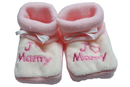 I Love Grandma Zapatillas de bordado de color rosa en blanco