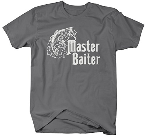 Shirts By Sarah Men's Funny Fishing T-Shirt Master Baiter Shirts (Charcoal 3XL)