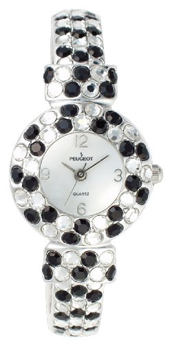 Peugeot Women's 326BK Silver-Tone Black And Clear Crystal Glitz Cuff ()