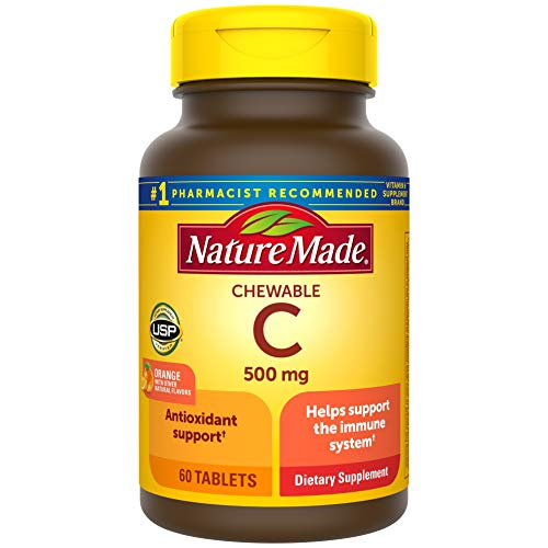 Nature Made Chewable Vitamin C 500 mg Tablets, 60 Count to Help Support the Immune System