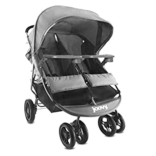 Joovy Scooter X2 with Tray, Double Stroller, Side by Side Stroller, Stroller for Twins, Large Storage Basket, Charcoal