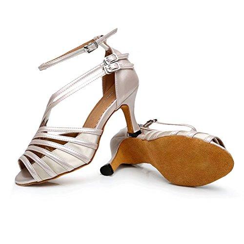 Cdsodance Donna Elegante Peep Toe Pelle Pu Pelle / Raso Morden Salsa Latino Ballerino Tango Sandali Da Ballo Beige - 7,5 Cm Tacco