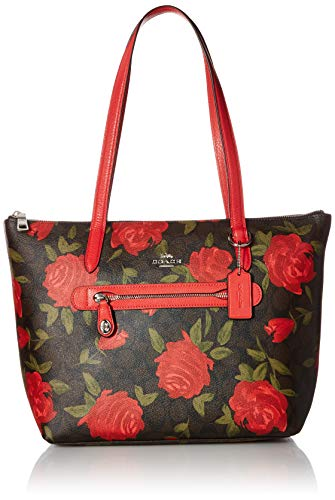 COACH Women's Camo Rose Taylor Tote Silver/Brown/Red One ()