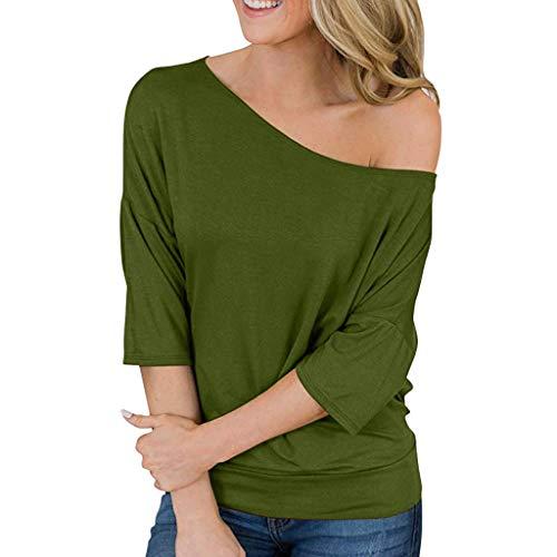 - NCCIYAZ Womens Top T-Shirt Off Shoulder Short Sleeve Summer Plain Ladies Blouse(M(8),Green)