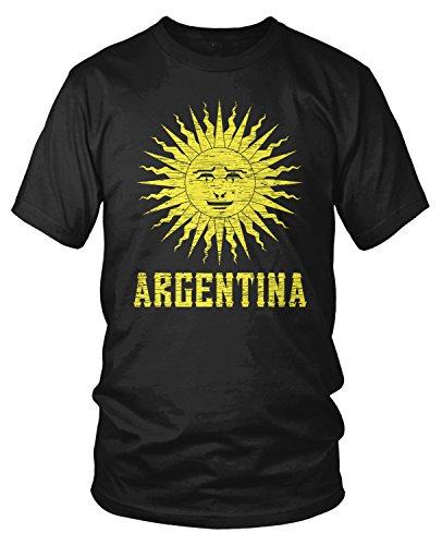 Amdesco Men's Argentina Sun of May, Argentine Sol De Mayo T-shirt, Black - Argentina Sun