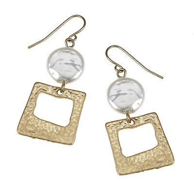 Coin Pearl Textured - Imitation Pearls & Artisan Square Earrings ?Features: Worn Gold Plating Textured Artisan Square Earrings Linked Ivory Coin Imitation Pearl Fish Hook Ear Wires ?Textured Artisan Square Earrings