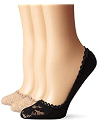 Via Spiga Women's 3 Pack Lace Shoe Liner No-Show Sock