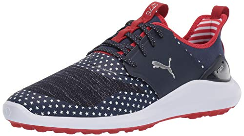 Lace Golf - Puma Golf Men's Ignite NXT LACE Patriot Pack Golf Shoe, Peacoat-Puma White-High Risk Red, 11.5 Medium US
