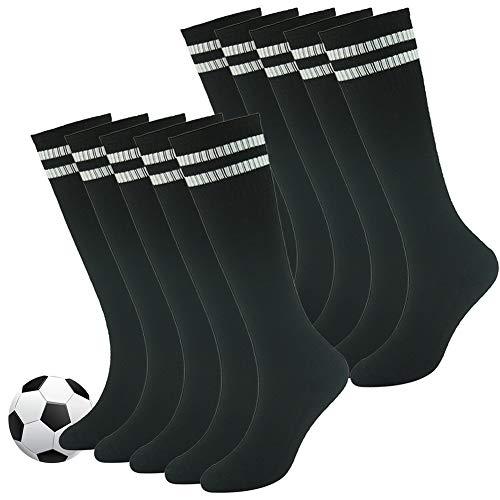 Long Tube Socks,Fasoar Youth Knee High Classic Stripes Design Sports Socks for Baseball,Football,Basketball,Soccer 10 Pack Black