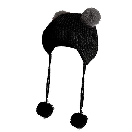 Inkach Baby Beanie Earflaps Hat | Toddler Girls Boys Winter Warm Knit Hat | Slouchy Pom Pom Beanie Skull Caps (Black)