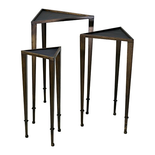 Modern Triangle Black & Mahogany Nesting Tables Set of 3 by Zinc Decor