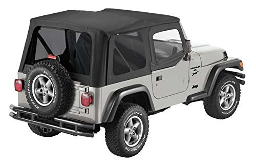 Replacement Jeep Window - Pavement Ends by Bestop 51197-15 Black Denim Replay Replacement Soft Top Tinted Back Windows w/Upper Door Skins for 1997-2006 Jeep Wrangler
