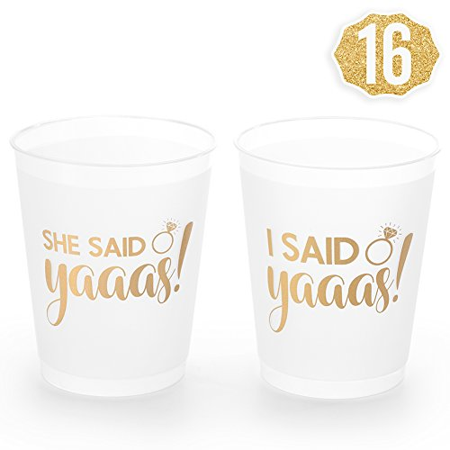 xo, Fetti She Said Yaaas Bachelorette Party + Bridal Shower Cups w/ Bonus I Said Yaaas Style - 16 Count, 16 Oz. | Engagement Party Decoration Bride to Be Gift