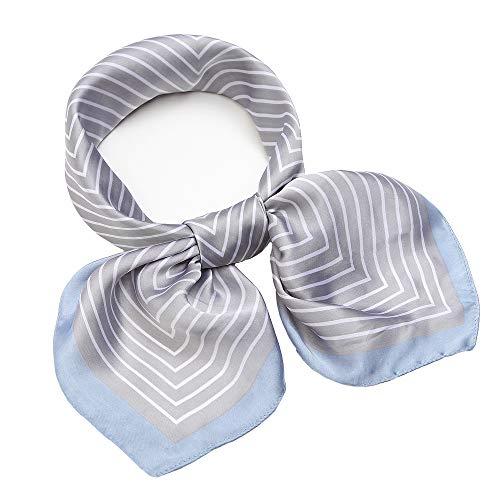 (Silk Like Scarf Square Satin Hair Scarf Fashion Maze Neck Scarfs for Women Grey 27'' x 27'')