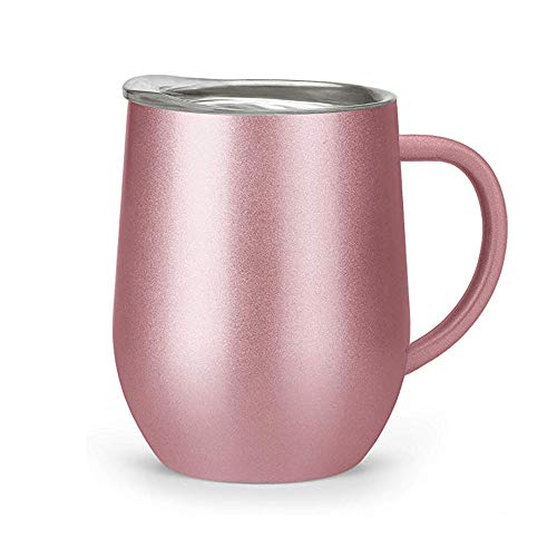 Wine Glass with Handle Stainless Steel Wine Tumbler with Lid Yiomxhi Double Insulated Mugs Coffee Cup Wine Cup Tumbler for Coffee, Wine, Cocktails, Ice Cream - 12 OZ(Rose Gold)