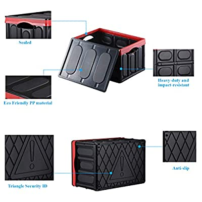 chiitek 30L Backseat Collapsible Organizer Plastic Foldable Storage Box Space Saving Box Reinforced Handle Easy to Carry Multipurpose Portable Storage Bin Carrier for Car, SUV, Truck, Auto: Home & Kitchen