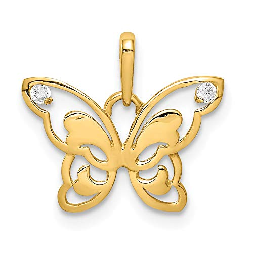 (14k Yellow Gold & CZ Polished Butterfly Pendant, 16mm (5/8 inch))