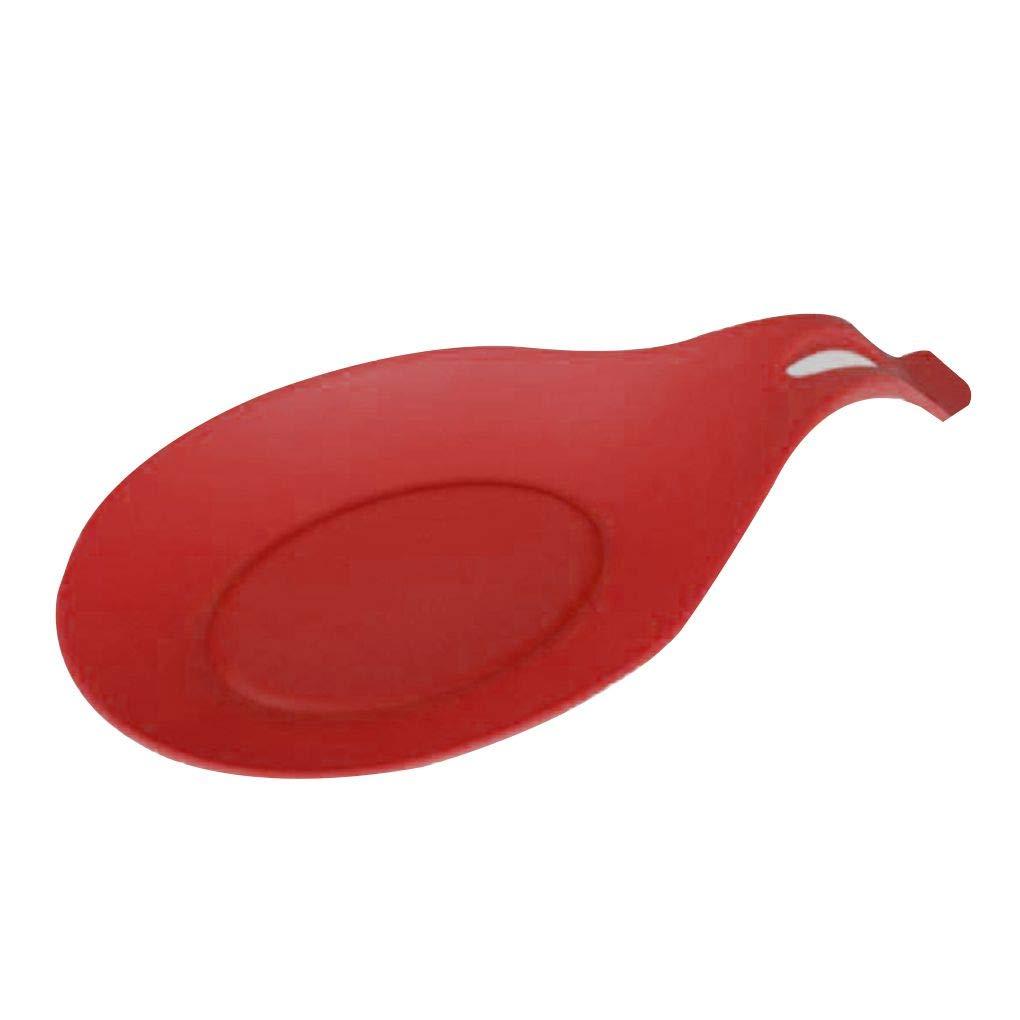 fgyhty Haute température résistant à Soupe Silicone Cuillère Mat Plateau Anti-dérapant Tapis Arts de la Table pour la Cuisine Table à Manger