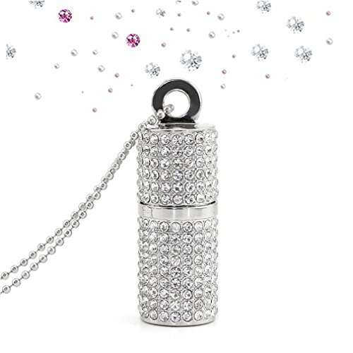 Price comparison product image Novelty Cute Jewelry Crystal Lipstick Shape 32GB USB 2.0 Flash Drive Bling Rhinestone Diamond Glitter Shining Necklace Pen Drive Thumb Drive Memory Stick(Silver)