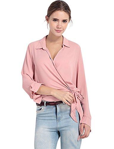 Wrap Blouse (Irisie Women Chiffon Loose Tie Front Long Sleeve Wrap Blouse(XL,Pink))