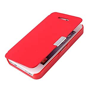 Metal Magnetic Flip PU Leather Hard Case Cover Skin For iPhone4/4S Red