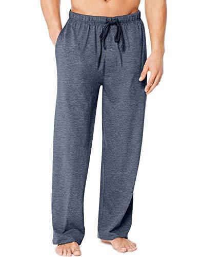 Hanes X-Temp Men`s Jersey Pant ComfortSoft Waistband, L, Grindle Denim