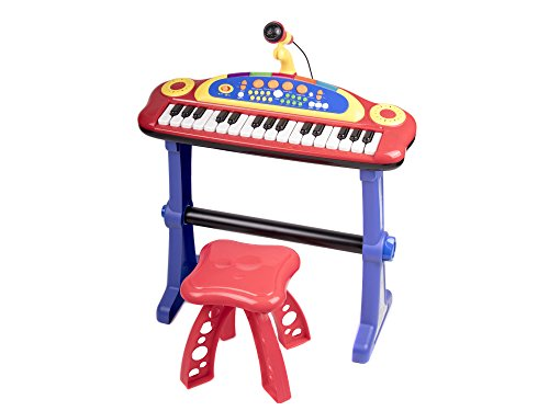 Electronic 31 Key Toy Piano Keyboard for Kids with Real Working Microphone, Colorful Lights and Stool