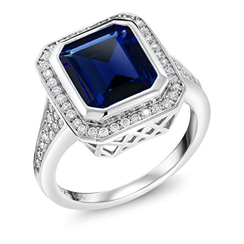 (Gem Stone King Sterling Silver Simulated Sapphire Vintage Women's Ring (5.00 Cttw Emerald Cut Available 5,6,7,8,9))