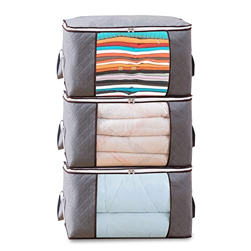 Foldable Storage Bag Organizers, Waterproof Anti-Mold Moisture Proof Clothes Storage Container Zipper Bag with Clear Window Carry Handles for Blanket Comforter Bedding, Closet Storage Boxes (3 Packs)