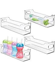 mDesign förvaringslåda – badrumsförvaring med handtag i plast – plastlåda för babyprodukter, hygienartiklar m.m. – 36,8 cm x 10,2 cm x 10,2 cm – 4-pack – transparent