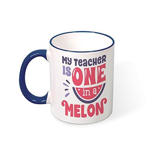 DKISEE My Teacher Is One Melon (2) Color Coffee Mug Novelty 11oz Ceramic Mug Cup Birthday Christmas Anniversary Gag Gifts -
