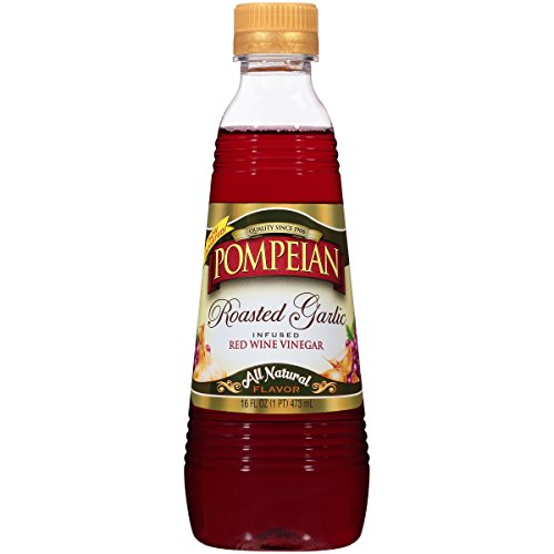 Pompeian Roasted Garlic Infused Red Wine Vinegar, 16 Ounce (Pack of 6) ()