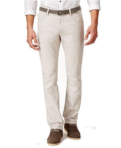 Inc International Concepts Bunkie Slim-Straight Jeans (34W x 32L, Seashell)