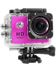 كاميرا تصوير رياضية عالية الدقة 1080P مقاومة للماء 30M DV مع ملحقات باللون الوردي