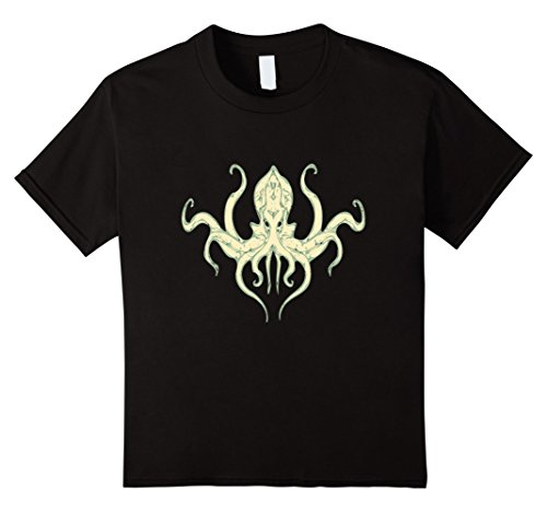 Kids Vintage Octopus-Kraken Retro T-Shirt 8 Black (Sea Creature Costumes)