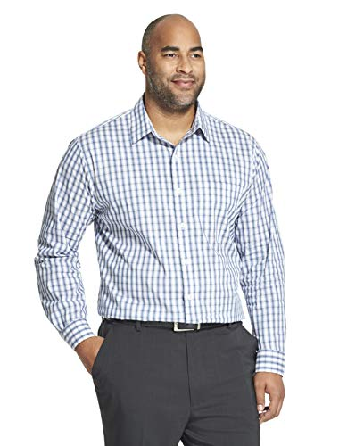 (Van Heusen Men's Big and Tall Traveler Stretch Long Sleeve Button Down Blue/White/Purple Shirt, Legacy Bright, 2X-Large)