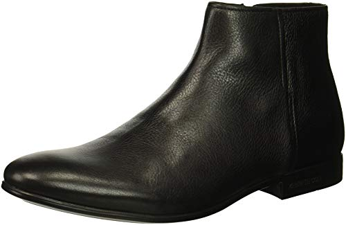 Kenneth Cole New York Men's Mix Zip Boot Ankle, Black Tumbled Leather, 8.5 M US