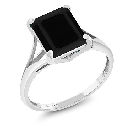 Gem Stone King 14K White Gold Black Onyx Women's Solitaire Ring 3.13 Ct Emerald Cut (Size 6)