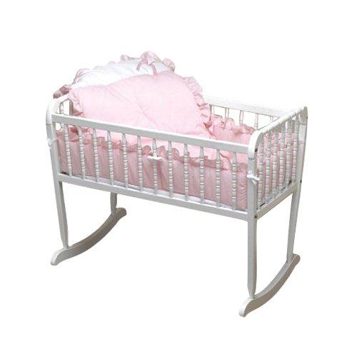 bkb Pretty Pique Cradle Bedding, Pink, 15'' x 33''