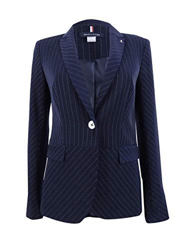 Tommy Hilfiger Womens Pinstripe Office Wear Peplum Jacket Navy 8