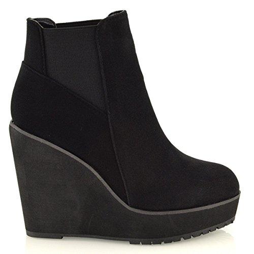 Essex Glam Womens Laarzen Voor Dames Chelsea Effen Enkellaarsjes Zwart Faux Suede