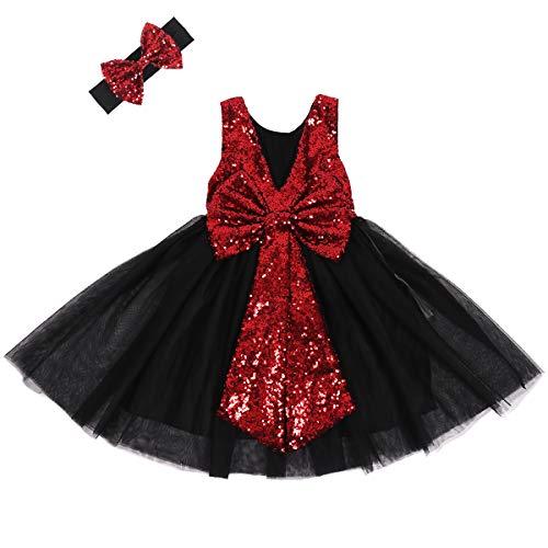 Cilucu Flower Girl Dress Baby Toddlers Sequin Dress Tutu Kids Party Dress Bridesmaid Wedding Gown Birthday Dress Wine Black Burgundy 3T-4T (Bridal Dress Black)