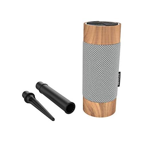 chollos oferta descuentos barato KitSound Diggit Altavoz Bluetooth Independiente para Exteriores con Soporte Extraíble Color Plata Madera