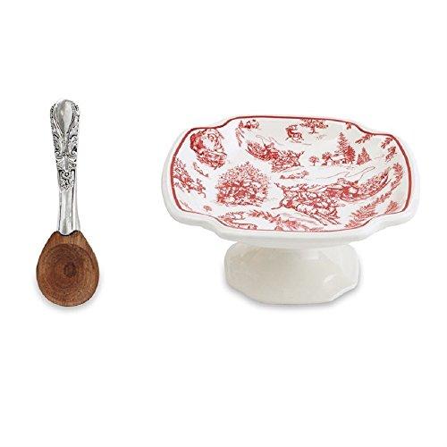 - Mud Pie 4851095 Toile Pedestal Dip Cup Set, Red