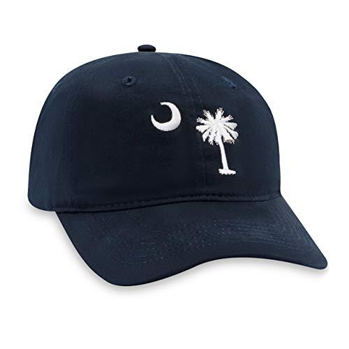 - Palmetto Moon Hat - South Carolina Flag Dad Hat Baseball Cap Golf Hat (Navy)